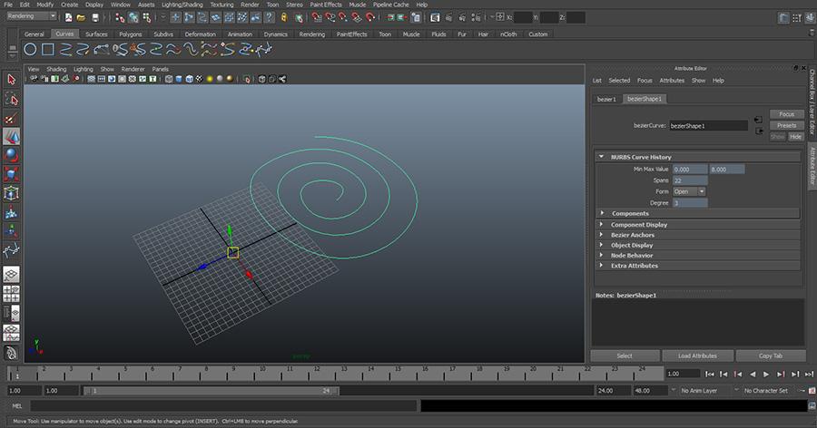 Maya-Draw-Bezier-Curve