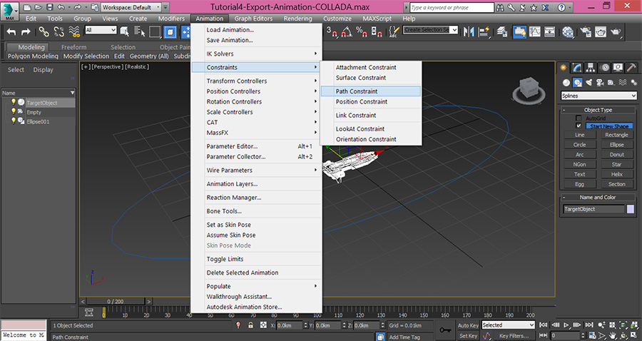 3dsMax-Animation-path-constraint