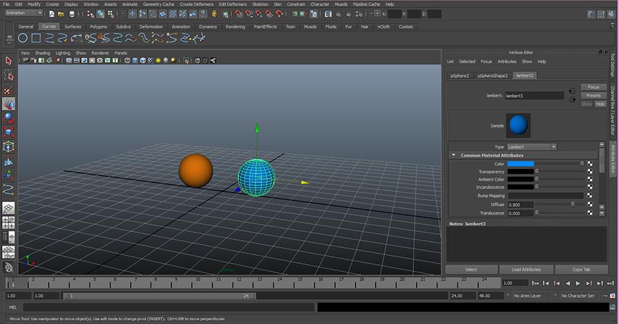 Maya-Edit-Lambert-Material-Sphere