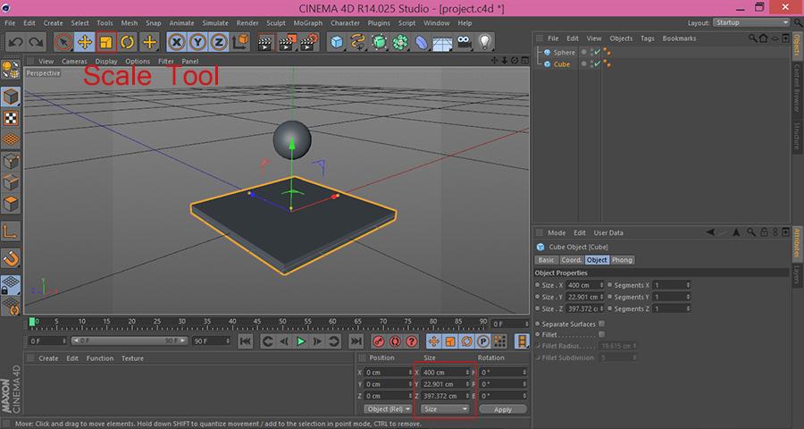 Cinema4D-Cube-Nonuniform-Scale